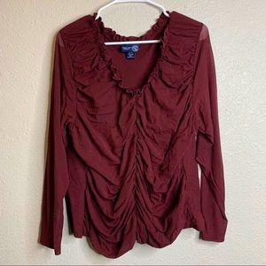 Ruffles Blouse with ribbed fit sz24